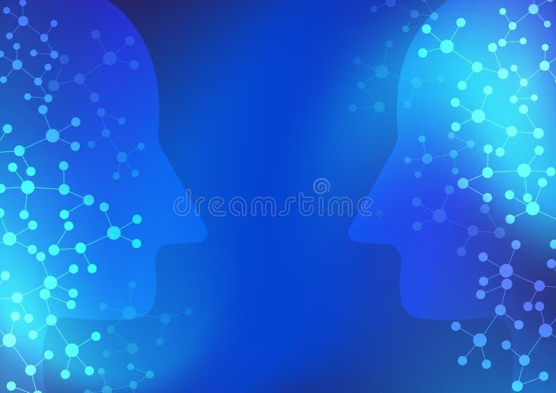 Sztucznej inteligencji i cyfrowej sieci technologii błękita tło royalty ilustracja