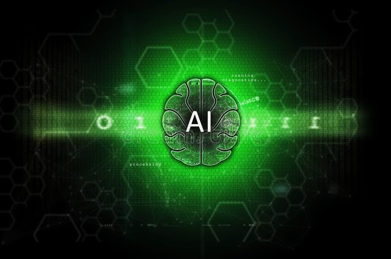 Sztucznej inteligencji i maszynowego uczenie ilustracji zieleń zdjęcie stock