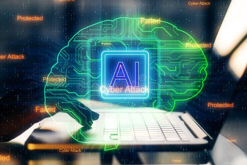 Sztucznej inteligencji i oprogramowania poj?cie ilustracja wektor