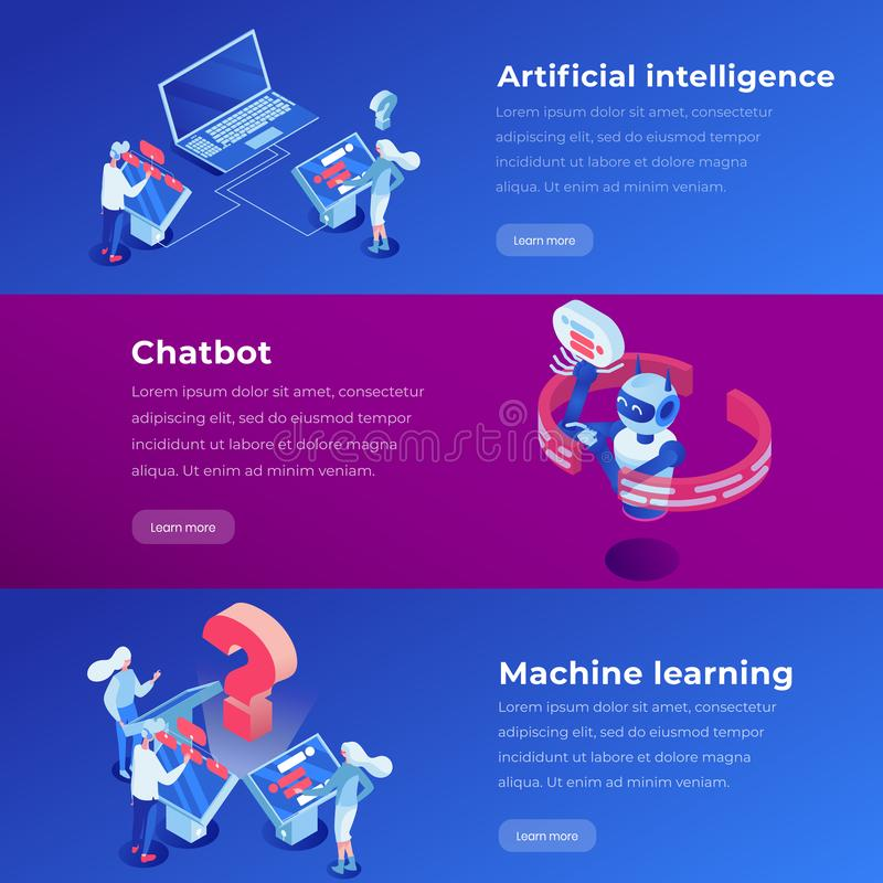 Sztucznej inteligencji lądowania strony isometric szablon Maszynowy uczenie, oprogramowania zastosowanie, ai strona internetowa k royalty ilustracja