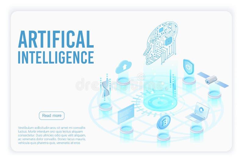 Sztucznej inteligencji lądowania strony isometric wektorowy szablon ilustracja wektor