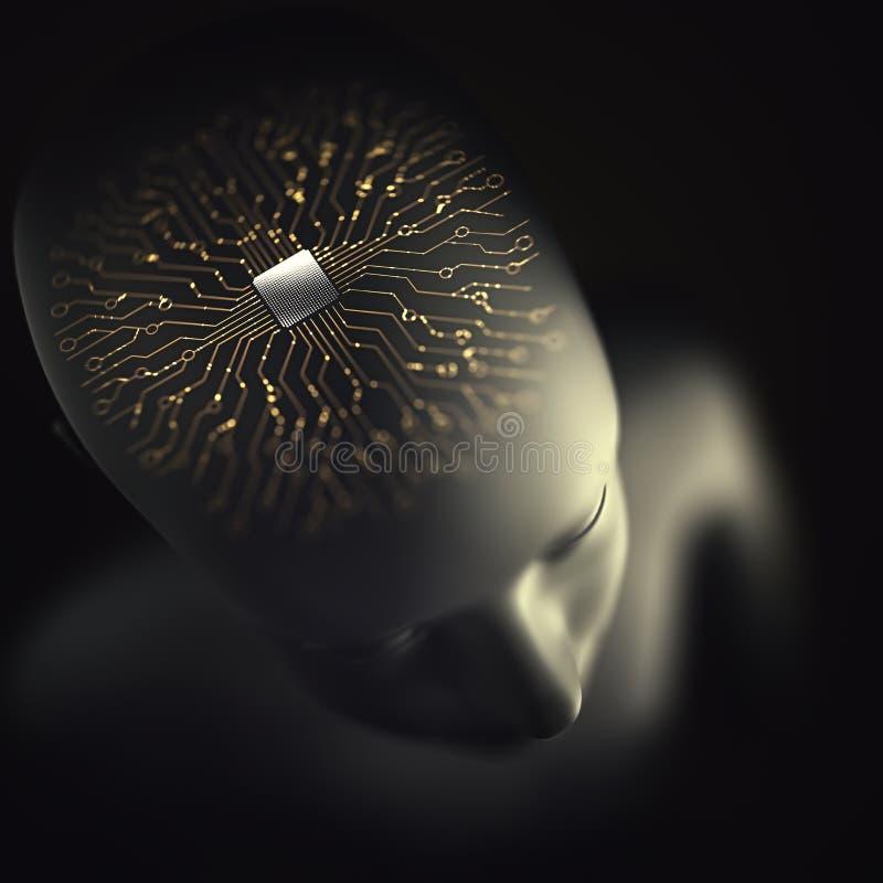 Sztucznej inteligencji mikroprocesoru Móżdżkowy układ nerwowy ilustracja wektor