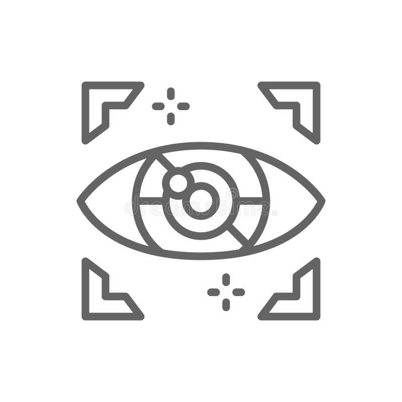 Sztucznej inteligencji oko, cyber przeszpiegi, komputerowa inwigilacji linii ikona ilustracja wektor