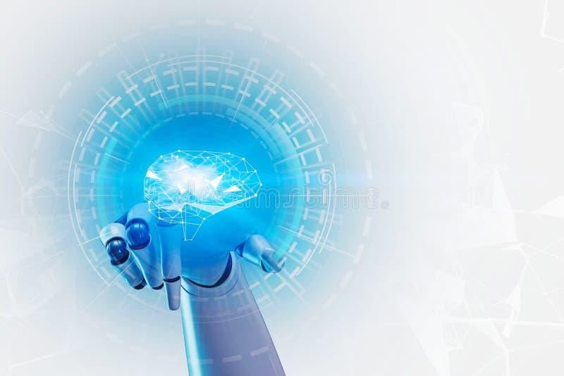 Sztucznej inteligencji pojęcie, robot ręka fotografia stock