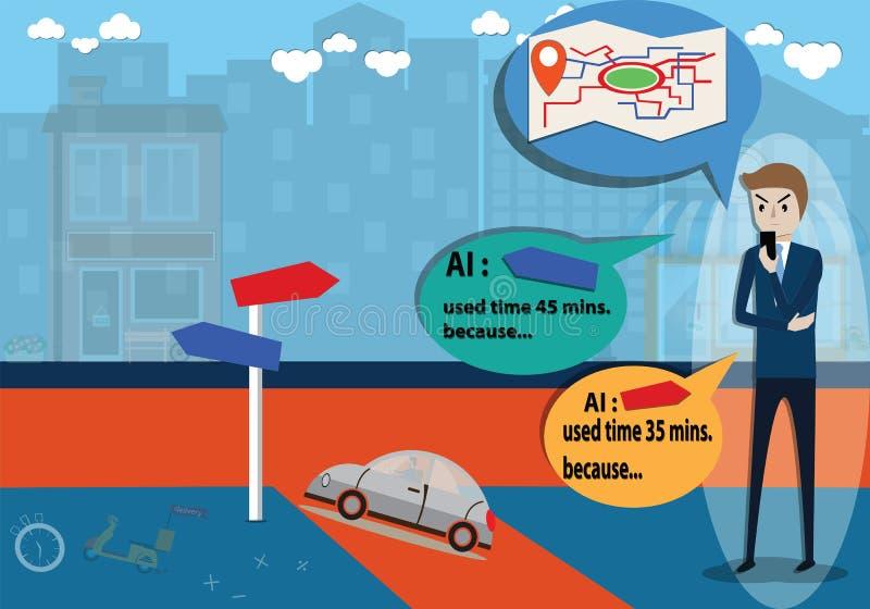 Sztucznej inteligencji pojęcie, mężczyzna używa mobilnego zastosowanie dla podróży planowania - wektor ilustracja wektor