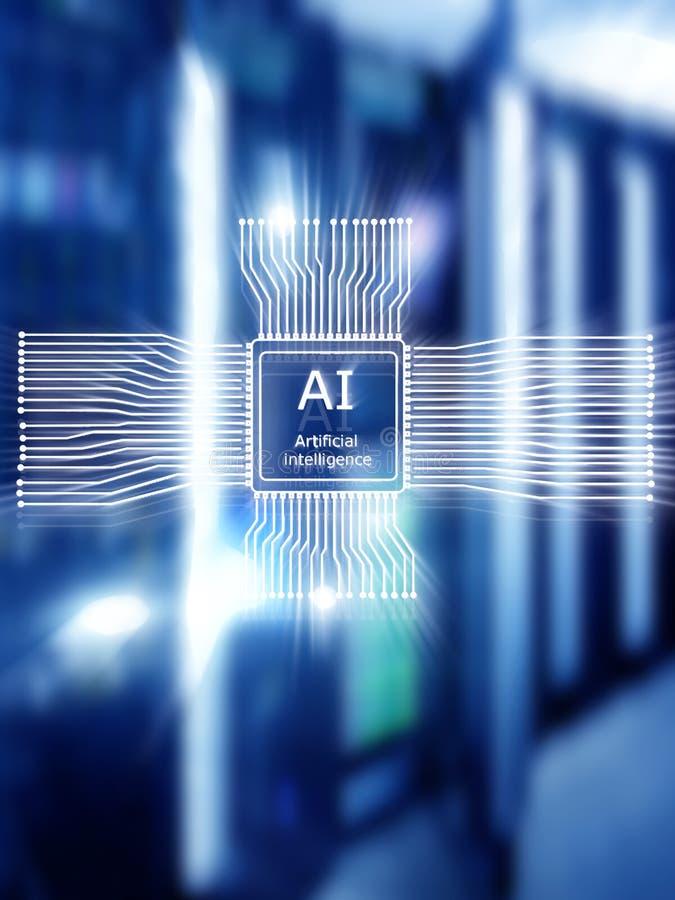 Sztucznej inteligencji przysz?o?ci technologia Sieci komunikacyjnej poj?cie Zamazany nowo?ytny datacenter t?o ilustracji