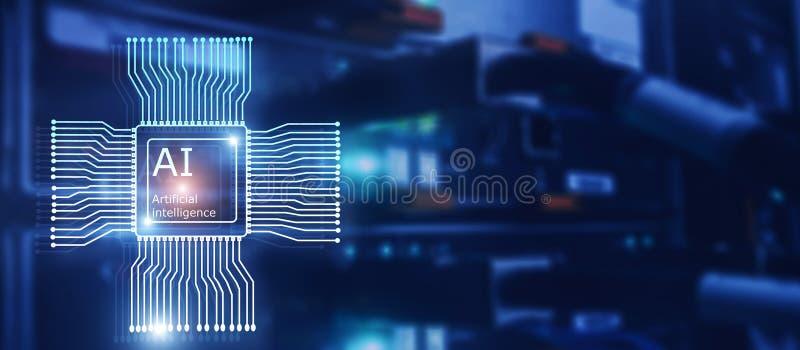 Sztucznej inteligencji przysz?o?ci technologia Sieci komunikacyjnej poj?cie Zamazany nowo?ytny datacenter t?o ilustracja wektor