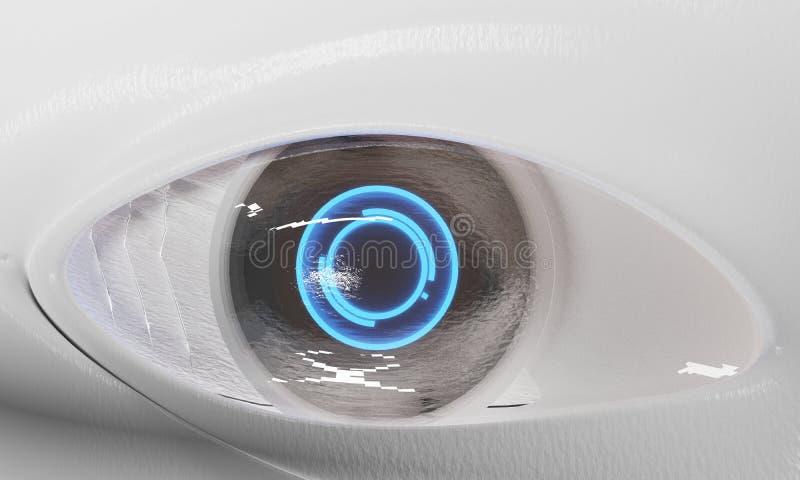 Sztucznej inteligencji robota cyborga oko zamknięty w górę 3d-illustration ilustracja wektor