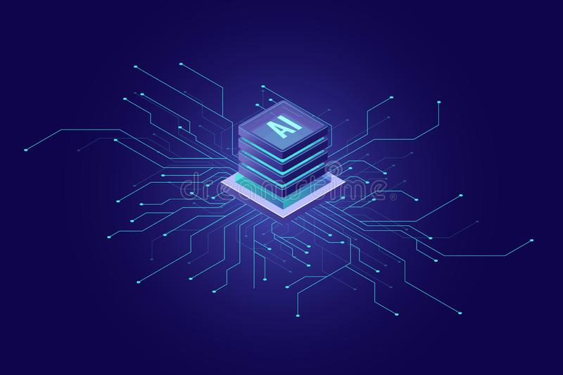 Sztucznej inteligencji sztandar, duży dane, obłoczny obliczać, maszynowy uczenie, ewidencyjnego górniczego pojęcia isometric ikon ilustracji