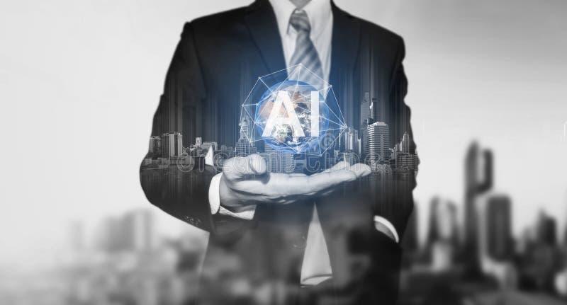 Sztucznej inteligencji technologia, biznesmena mienia budynków hologram z A Ja globalna networking technologia Element to ilustracja wektor