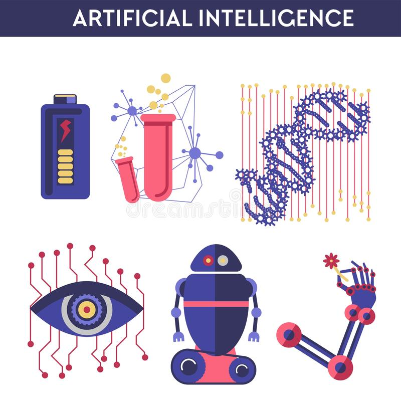 Sztucznej inteligencji wektorowa ilustracja robota ludzki umysł royalty ilustracja