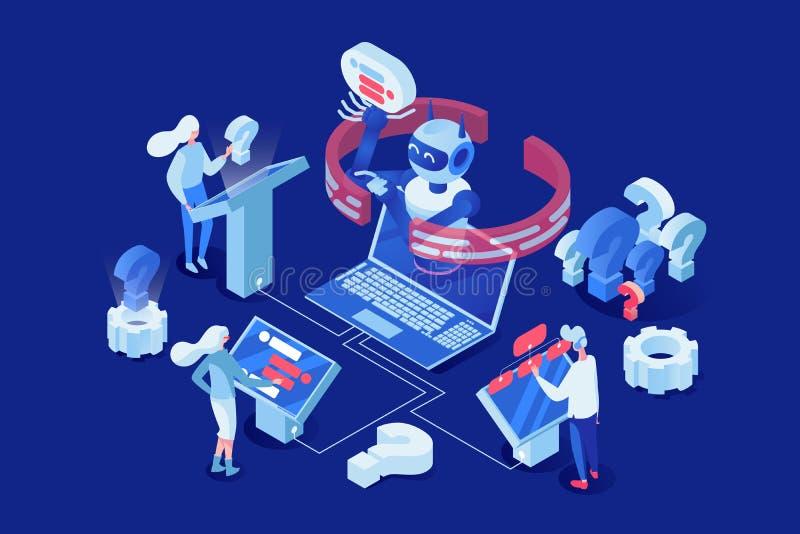 Sztucznej inteligencji wektorowa isometric ilustracja Ludzie, klienci gawędzi z chatbot 3d postaciami z kreskówki ilustracji