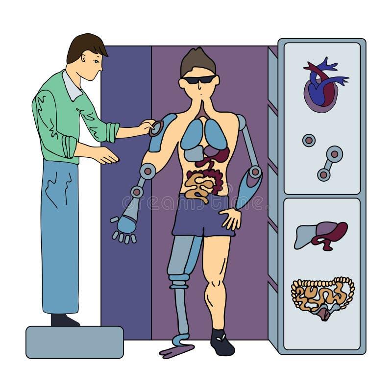 Sztuczni wewnętrzni organy Operacja przyszłość Chirurg i cyborg Odizolowywająca na biel wektorowa ilustracja royalty ilustracja