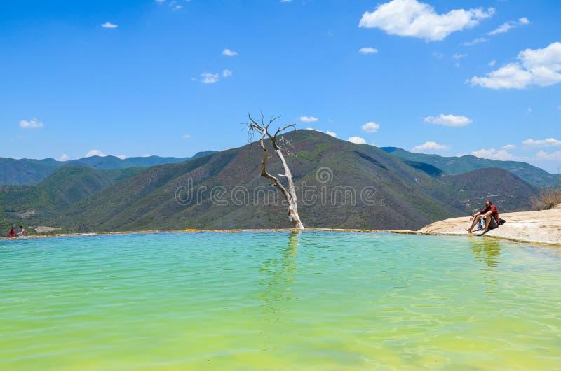 Sztuczny basenu Hierve el Agua, Oaxaca, Meksyk 19th 2015 Maj fotografia royalty free