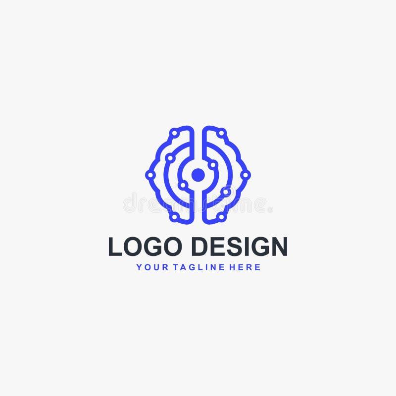 Sztuczny intelegent logo projekta wektor Móżdżkowy technologii cyfrowej pojęcia logo projekt ilustracji