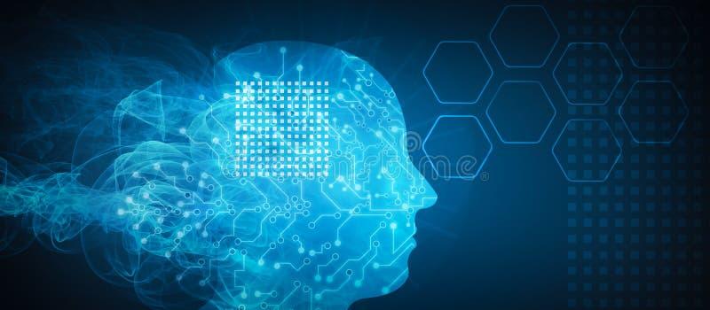 sztuczny móżdżkowy obwodów pojęcia elektronicznej inteligenci mainboard ilustracja wektor
