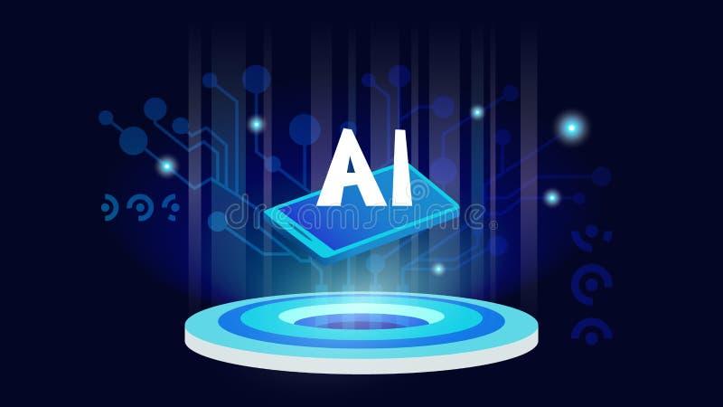 sztuczny móżdżkowy obwodów pojęcia elektronicznej inteligenci mainboard Futurystyczny technologii i robota mózg royalty ilustracja