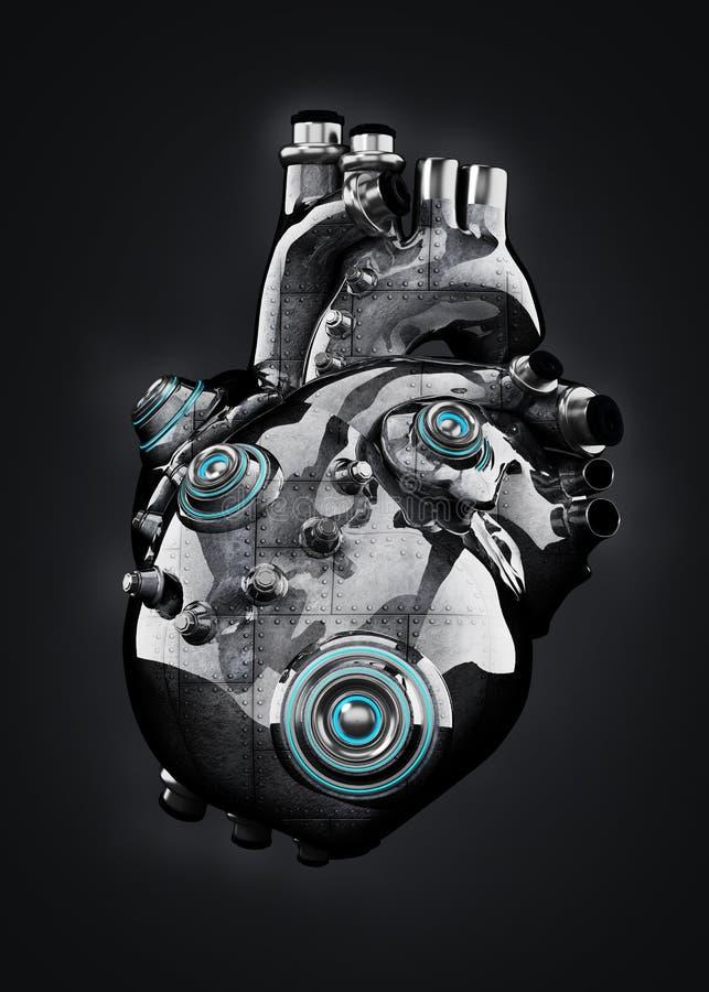 Sztuczny mechanika chromu serce odizolowywaj?cy na czerni ilustracja 3 d ilustracji