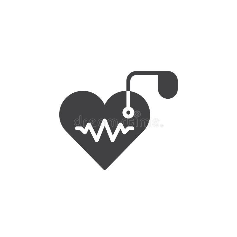 Sztuczny sercowego pacemaker ikony wektor, wypełniający mieszkanie znak, stały piktogram odizolowywający na bielu ilustracji