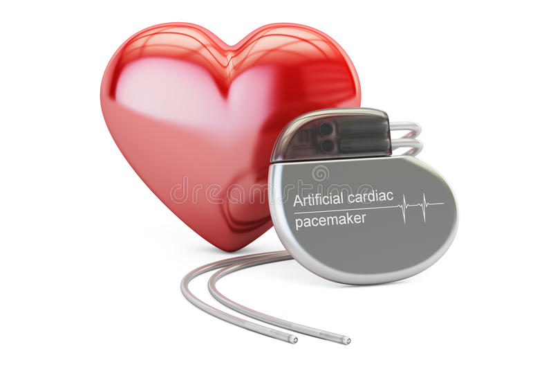 Sztuczny sercowy pacemaker z czerwonym sercem, 3D rendering royalty ilustracja