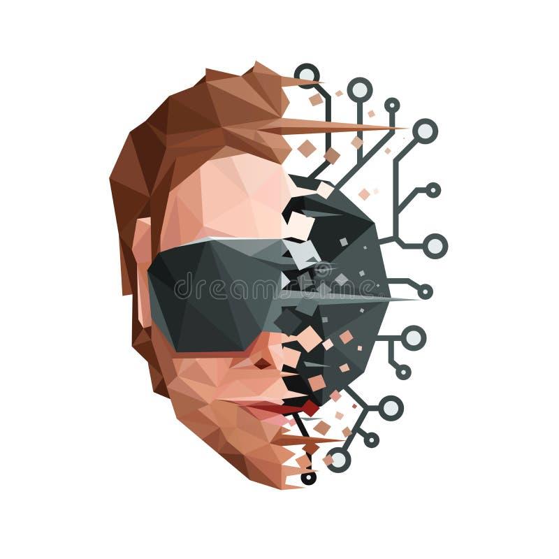 Sztuczny umysł sieci pojęcie ilustracja wektor