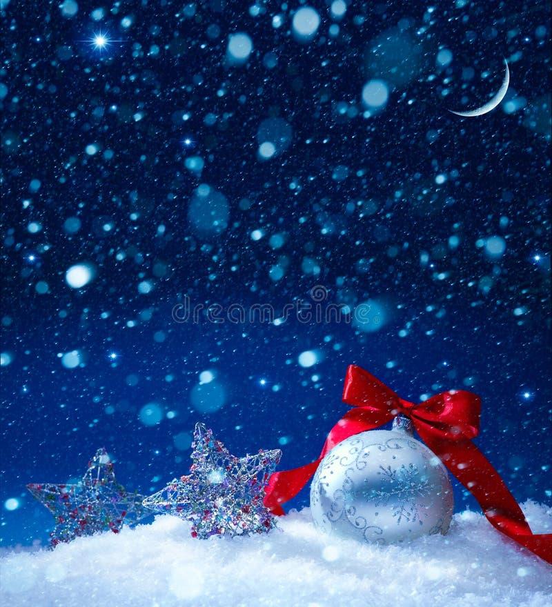 Sztuk bożych narodzeń dekoraci śnieżny tło obrazy royalty free