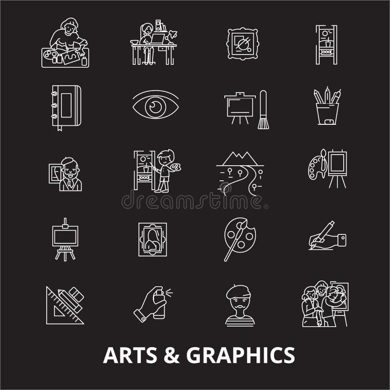 Sztuk grafika ikon editable kreskowy wektorowy ustawiający na czarnym tle Sztuk grafika konturu białe ilustracje, znaki ilustracja wektor