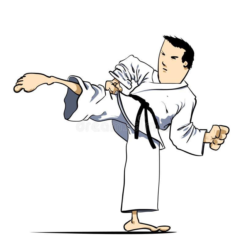 sztuk karate kopnięcie wojenny royalty ilustracja