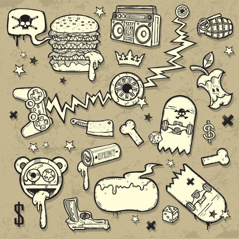 sztuk klamerki kolekci grunge ilustracji