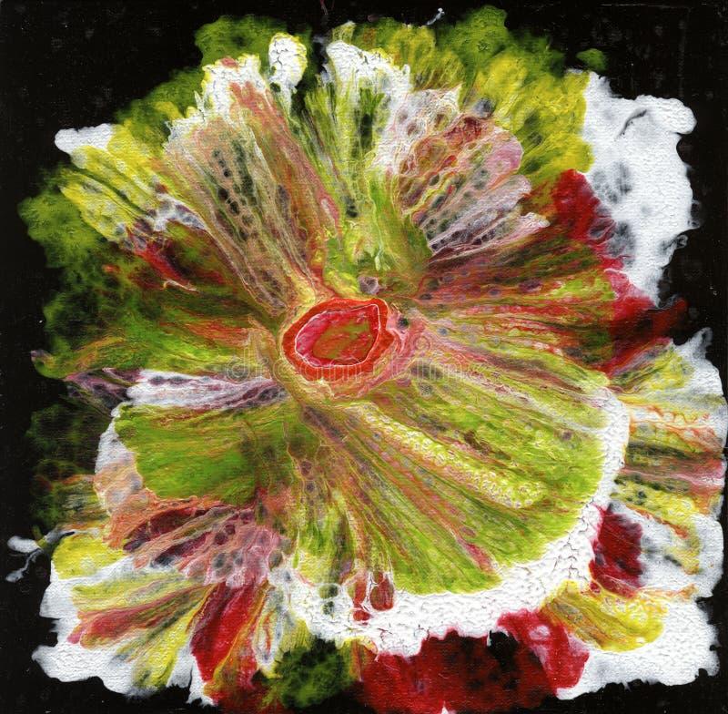 sztuka abstrakcyjna kwiat abstrakcyjne Kwiat na czarnym tle fotografia stock