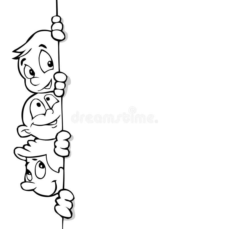 sztuka banner dzieci linii royalty ilustracja