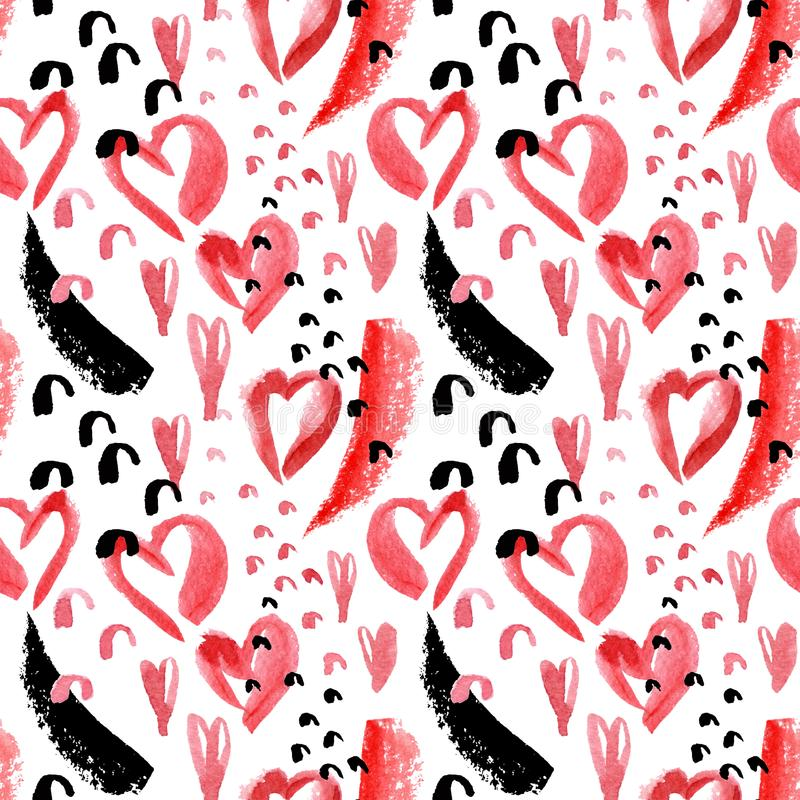 Sztuka bezszwowy wzór z akwareli czerwonymi sercami, szorstcy muśnięć uderzenia, doodles na białym tle ilustracja wektor
