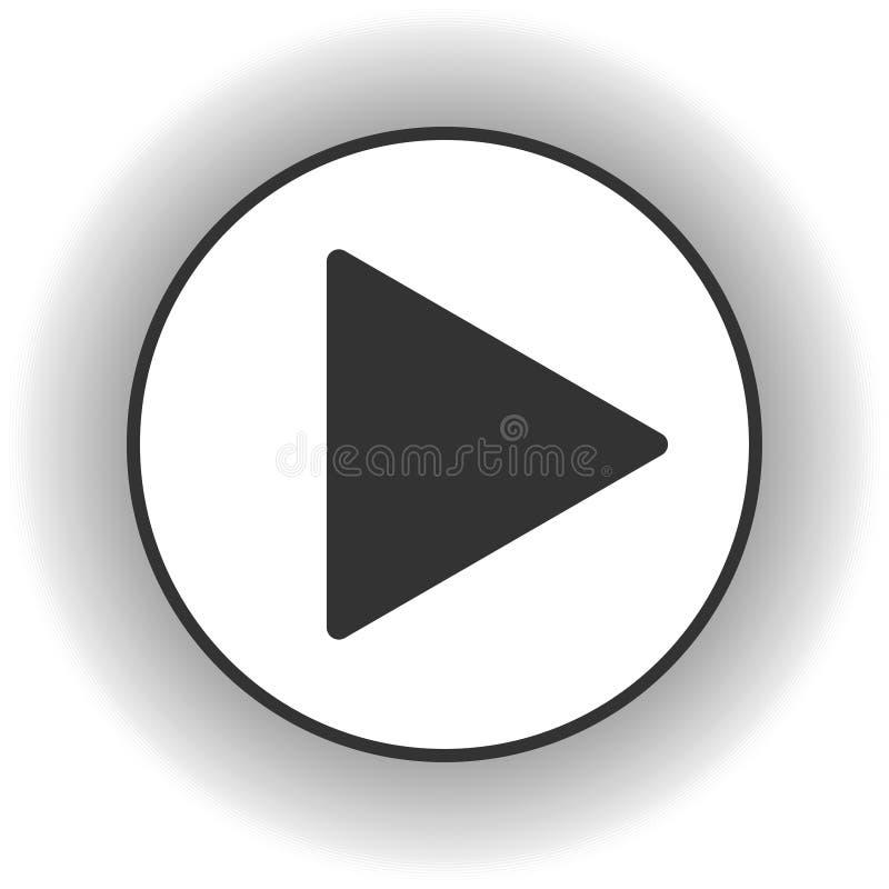 Sztuka guzika ikona Muzyki i wideo stukni?cia kszta?ta przedni symbol Pchni?cie pocz?tku gracza strza?kowaci ?rodki Nowa EPS 10 w ilustracja wektor