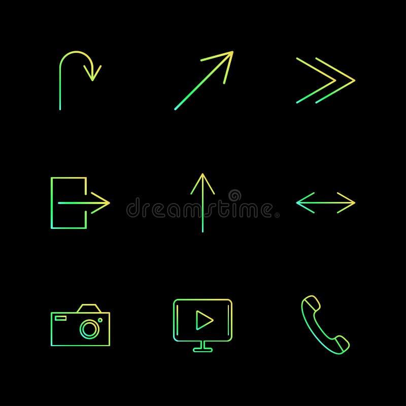 sztuka, kamera, wezwanie, strzała, kierunki, avatar, ściąganie, ilustracja wektor