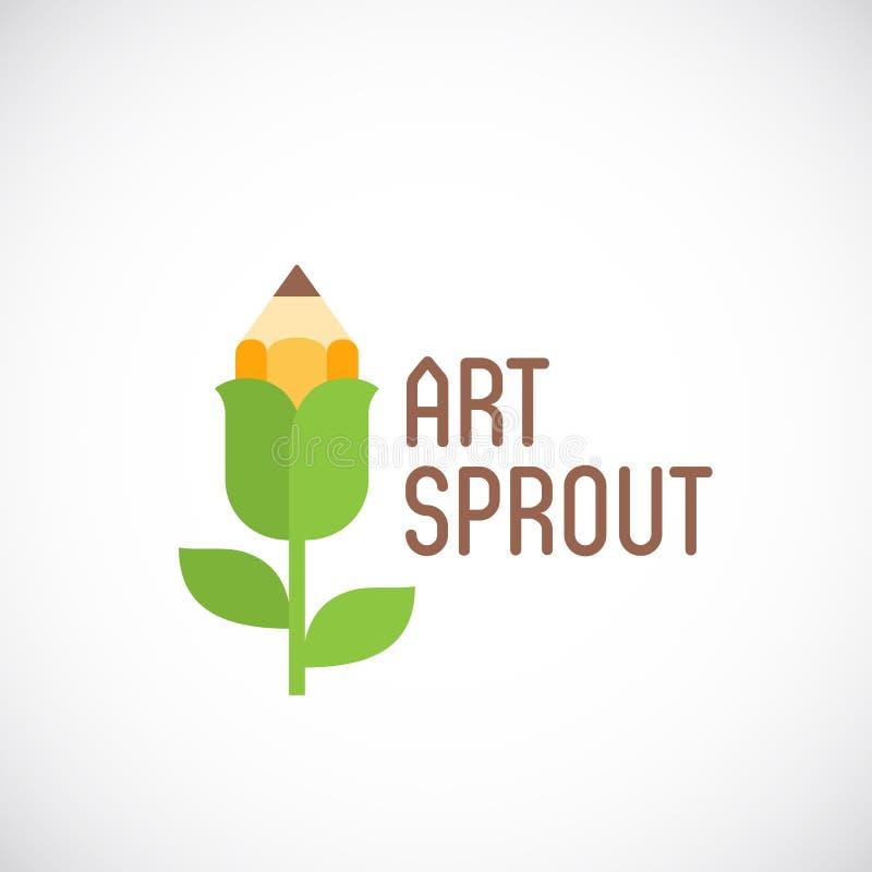 Sztuka Kiełkowy Abstrakcjonistyczny Wektorowy emblemat, etykietka lub loga szablon, Ołówkowy kwiatu mieszkania stylu pojęcie ilustracji