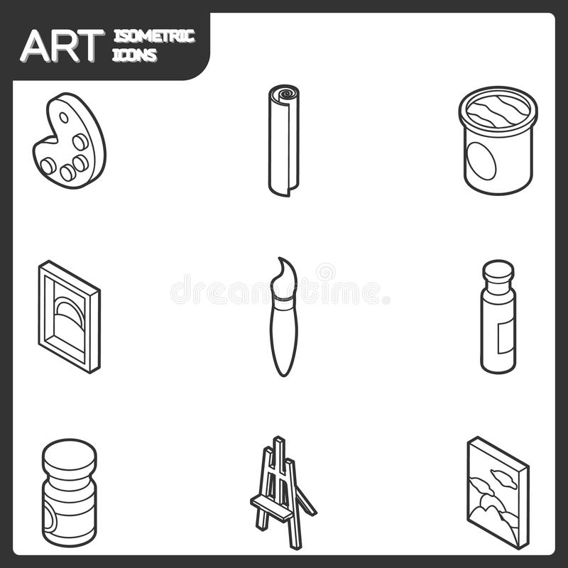 Sztuka konturu isometric ikony ustawiać ilustracja wektor