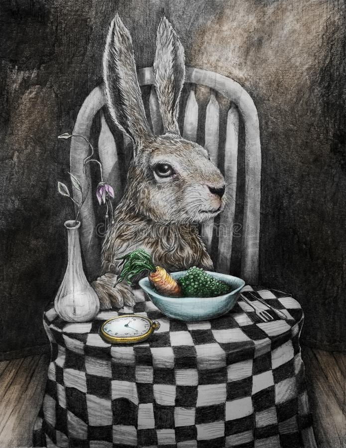Sztuka królik przy stołowymi łasowanie grochami, marchewkami i ilustracja wektor