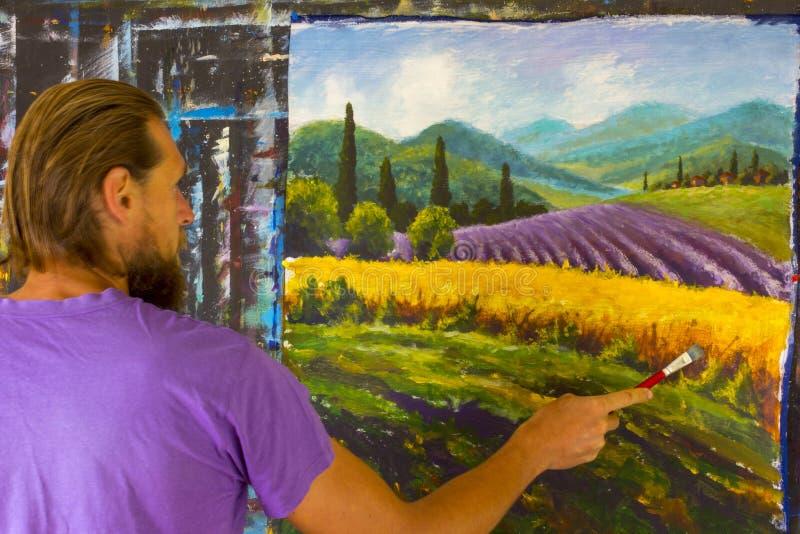 Sztuka kreatywnie proces Artysta tworzy obrazu lata Włoską wś tuscany Pole czerwoni maczki, pole żółty żyto Rur obrazy royalty free