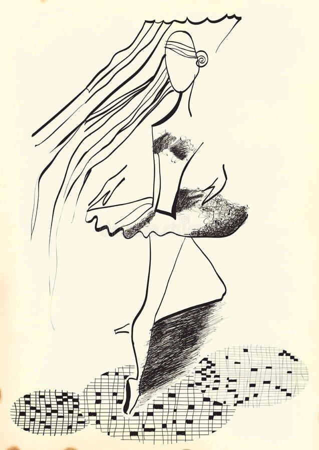Sztuka Kreskowa sztuka - balerina ilustracji
