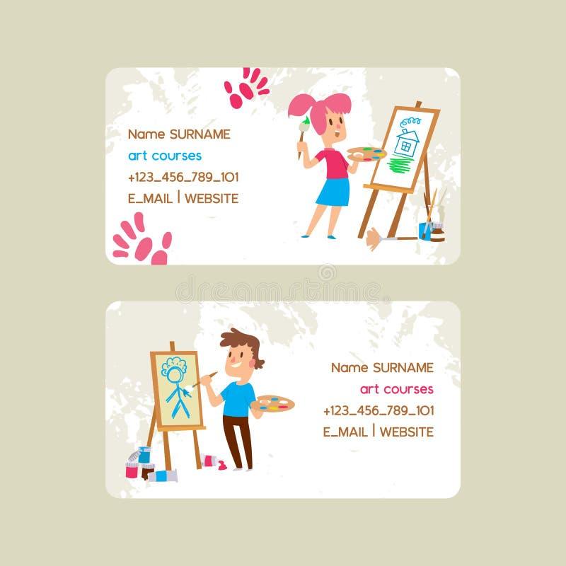 Sztuka kursów szkoły set wizytówka wektoru ilustracja Dziewczyny i chłopiec rysunek, obraz, kreśli na sztaludze ilustracja wektor