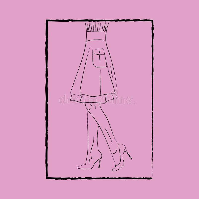 Sztuka liniowa pięknych nóg mody i obcasy nad różowym wektorem tła lub kolorową ilustracją ilustracja wektor