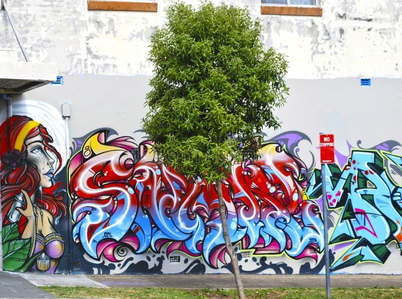 Sztuka listy i żeński portreta graffiti na ścianie w Bondi przedmieściu, Sydney zdjęcie stock