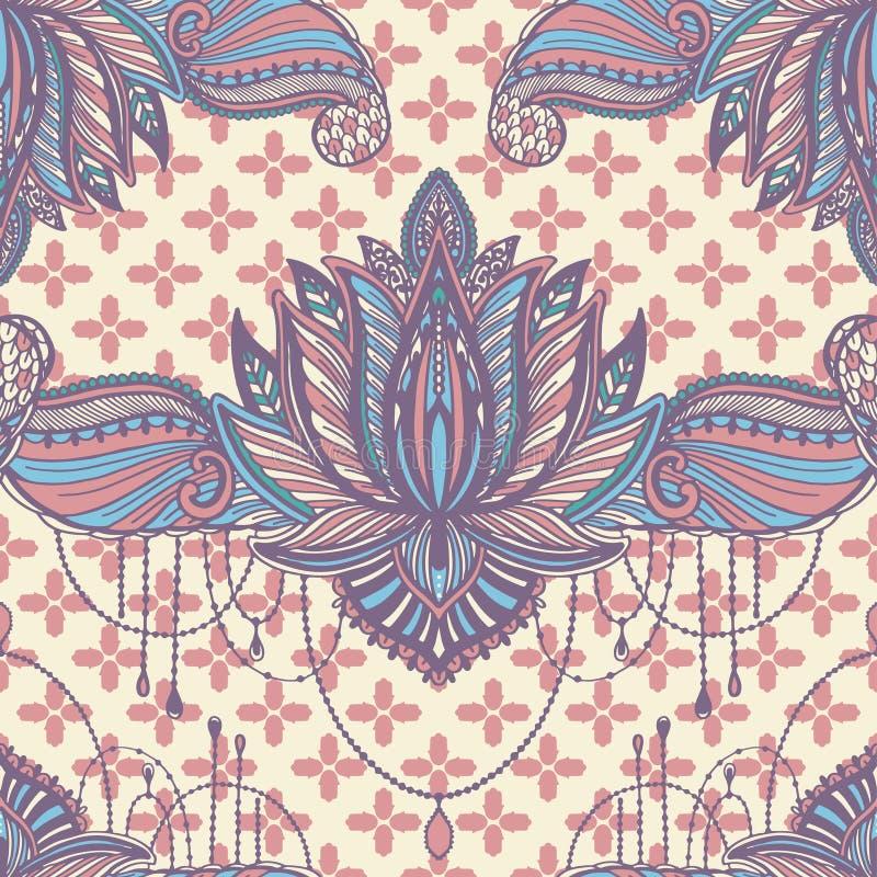 Sztuka lotosowego kwiatu bezszwowy deseniowy mandala Etniczny abstrakcjonistyczny druk Kolorowa wielostrza?owa t?o tekstura Kultu ilustracji