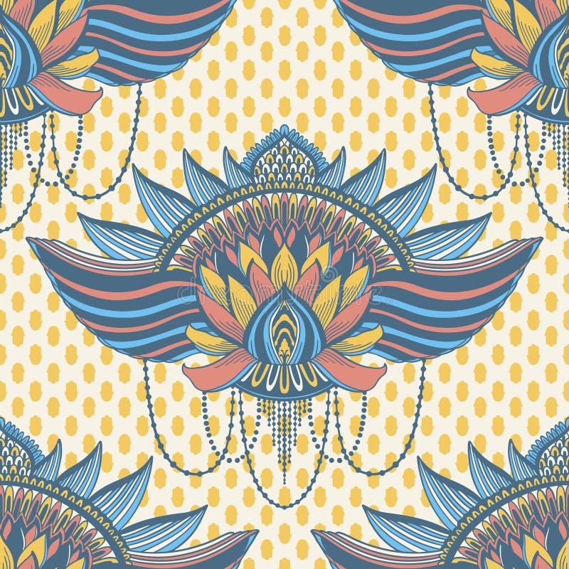 Sztuka lotosowego kwiatu bezszwowy deseniowy mandala Etniczny abstrakcjonistyczny druk Kolorowa wielostrza?owa t?o tekstura Kultu royalty ilustracja
