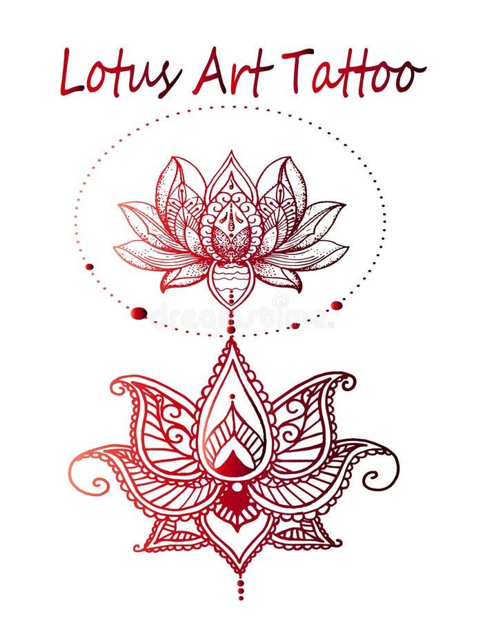 Sztuka lotosu tatuażu zakończenie ilustracja wektor