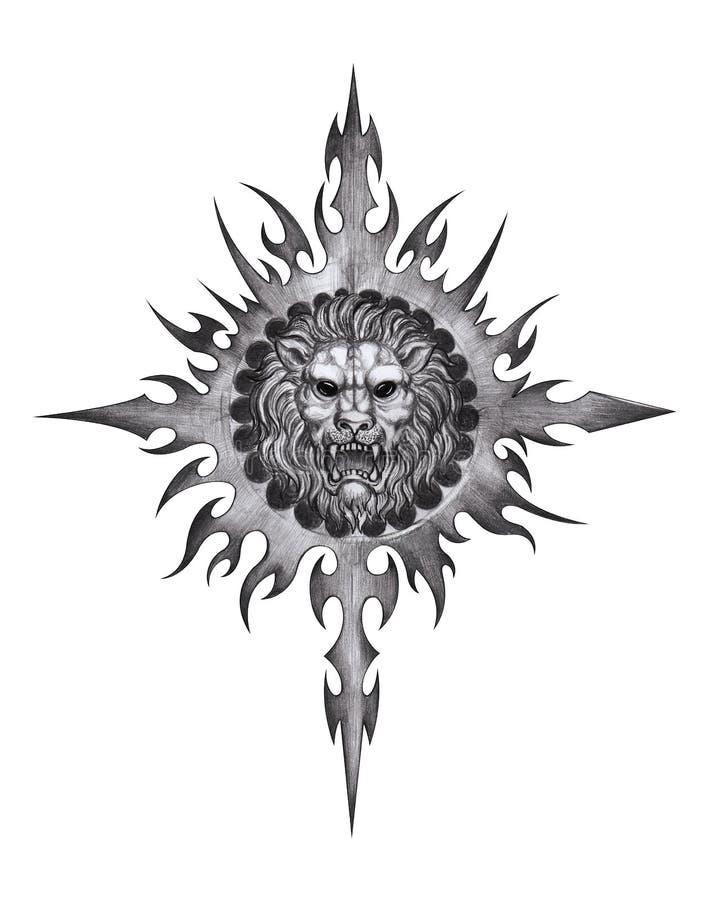 Sztuka lwa tatuaż ilustracji