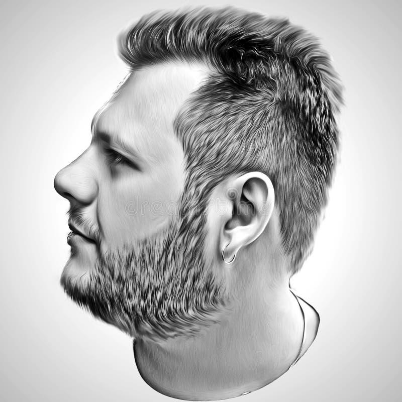 Sztuka mężczyzna wizerunek w czarny i biały stylu ilustracja Portret fotografia stock