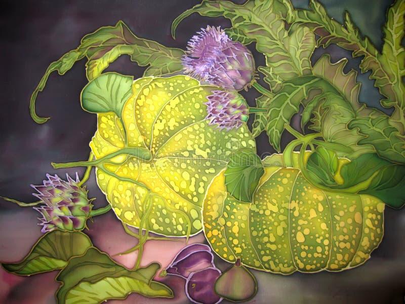 Sztuka, maluje na jedwabiu. Bania z figami i kwiatami. ilustracja wektor