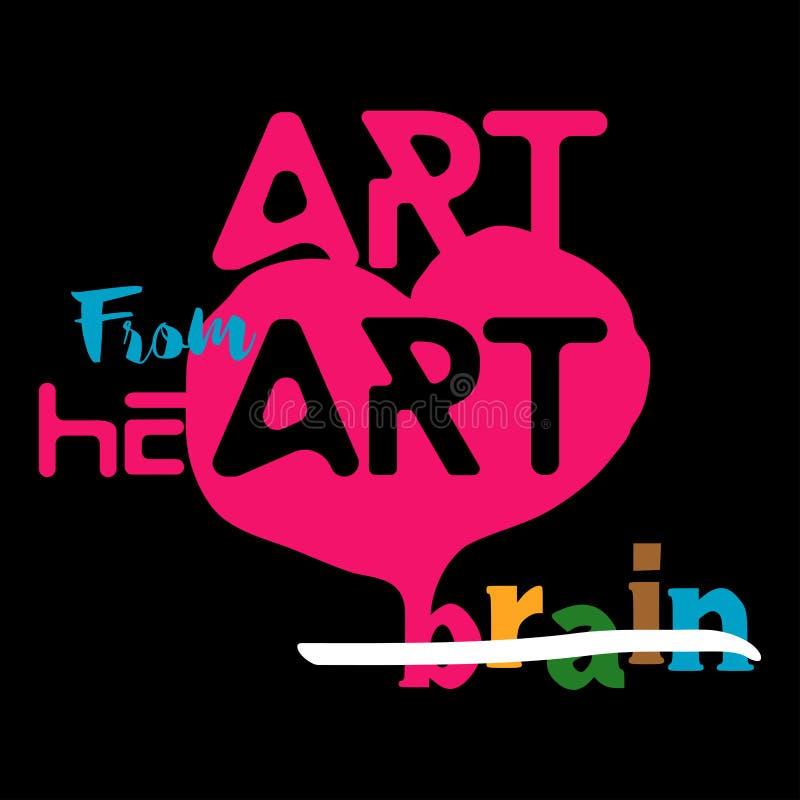 Sztuka od serca nie od mózg royalty ilustracja