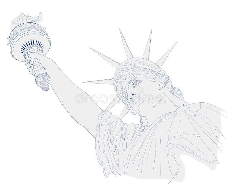 Sztuka projekt statuy wolności, atramentu i akwareli obraz, Projekt dla Lipa świętowania usa fourth amerykański symbol ilustracji